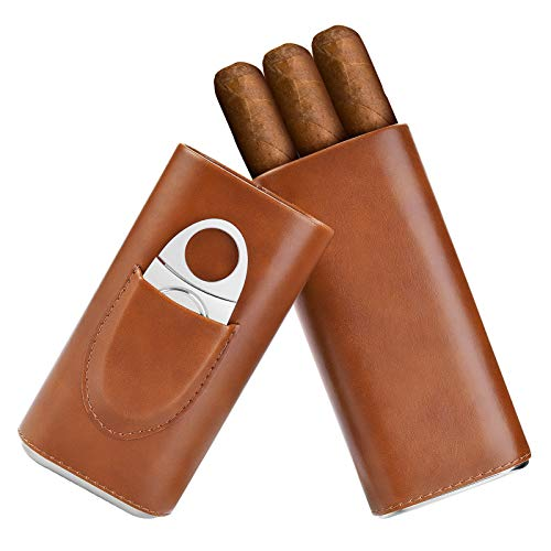 Cigar case Cedar Wood Lined - Cigar Travel case Cigar Cutter humidor case (Brown)
