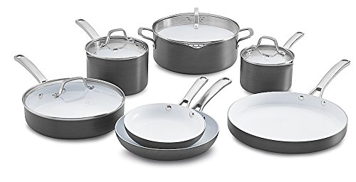 Calphalon 11 Piece Classic Ceramic Nonstick Cookware Set, Grey/White