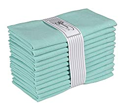 Ramanta Home 12-Pack 100% Cotton Dinner Napkins 18 by 18-Inch Soft Absorbent Comfortable - Ideal for Events and Regular Use - Aqua