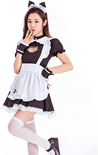 W.Z.H.H.H Traje de Criada Disfraz de mucama de Anime para Mujer Cosplay French Delantal Maid Vestido Traje para Fiesta de Halloween (Color : C-Black, Size : 2X-Large)