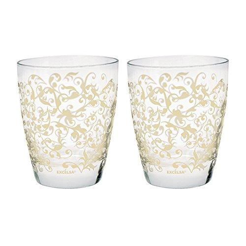Excelsa-Lote de 2 Vasos de Agua Decorados, Cristal, Crema, 2 Unidades