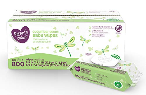PACK OF 3 - Parent's Choice Cucumber Scent Baby Wipes, 8 packs of 100 (800 ct)