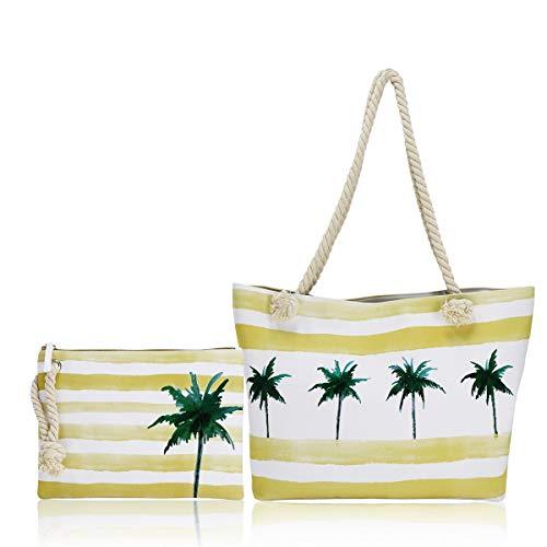 FARI Große Strandtasche Damen, Reisetaschen Canvas Schultertasche Shopper mit...