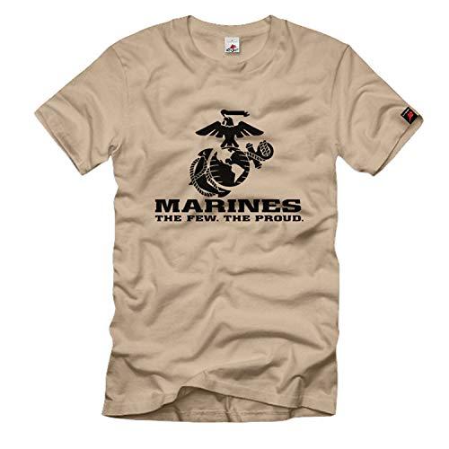 Copytec # 701 - T-shirt con stemma del corpo dei Marines US e scritta 'The Few The Proud' sabbia Large