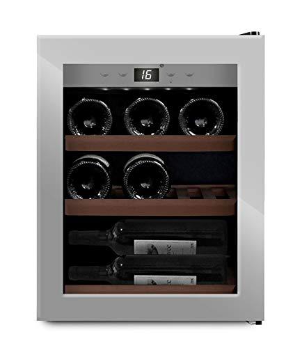 mQuvee Weinkühlschrank Freistehend, WineExpert 12 Stainless, Platz für bis zu 12 Flaschen, 1 Temperaturzone 5-20°C, Höhe 51 cm
