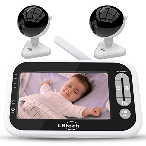 LBtech Video Baby Monitor with 2 Cameras and 4.3 inches Large LCD Screen,Automatic Night Vision,Two-Way Talkback/Audio,Temperature Detection,Power Saving/Vox,Zoom in Lens,Support Multi Camera
