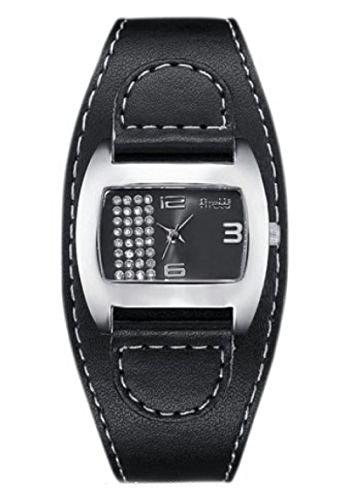 Firetti Schöne Damen Armbanduhr schwarz Quartzwerk und Mineralglas