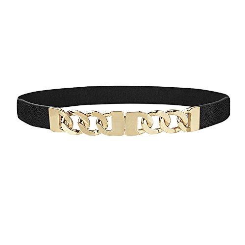 iShine Donna Cintura in Pelle Artificiale Elastica Cintura con Interlocked Metallo Fibbia