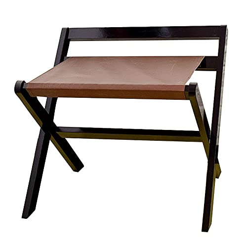 BAIYING Wooden Shelf, Sturdy And Durable with Backrest Collapsible Portable Floor Luggage Rack, Home Bedroom Clothes Luggage Storage Rack (Color : Black, Size : 60x50x65cm)