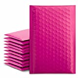 Fuxury/ Fu Global 4x8' 50Pcs Poly Bubble Mailers #000, Self Seal Padded Envelopes Bulk with Bubble Lined Wrap -Pink
