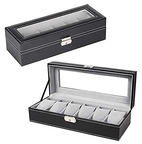 HAITRAL Uhrenbox für 6 -Leder Uhren,Vitrine Organizer mit Glasdeckel, Glasschmuck Aufbewahrung,Pu Leder, Schlüsselschloss,Schmuckhalter Vitrine