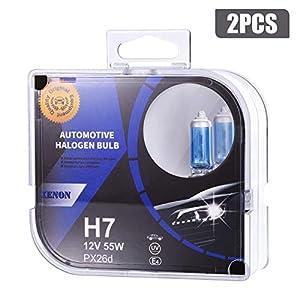 2x H7 Lámpara Halógena para Coche 4000 K 55W Bombillas Halógenas Luz de Cruce Nocturna, Luces de Cruce y Antiniebla, Delanteros Con Larga Vida Util
