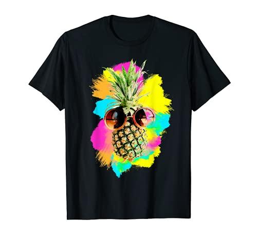 Retro Ananas mit Sonnenbrille Sommer Strand Aloha Beaches T-Shirt