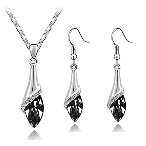 Klaritta Elegant Silver Black Crystal Eye Jewellery Set Drop Earrings & Necklace S807