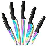 SiliSlick Set di coltelli da cucina | 5 coltelli colorati Rainbow Titanium Coated Chef e protezioni lama (nero)