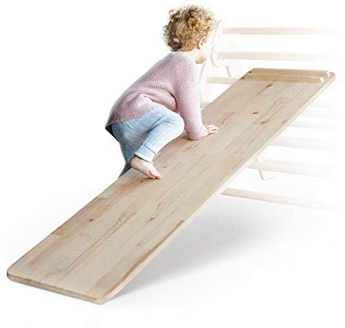 Ehrenkind® Rutschbrett und Hühnerleiter Pikler Art | massives Buchen-Holz | Das Rutschbrett ist EIN Addon für das Kletterdreieck Sprossendreieck Klettergeruest