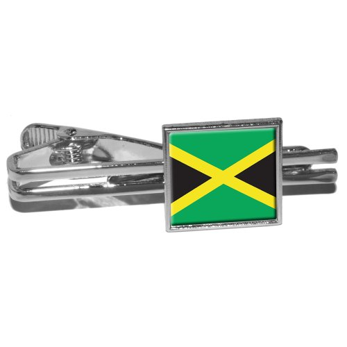 Graphics and More Jamaica Jamaican Flag Square Tie Bar Clip Clasp Tack - Silver