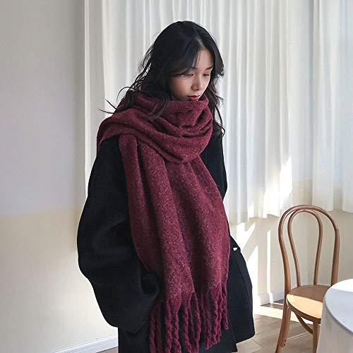 RENJUN Bufanda gruesa y larga con borla para mujer, cálida para invierno, doble uso, para hombre (color: vino oscuro)