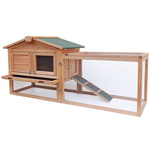 WilTec XXL conejera caseta Conejos recinto Descubierto Amplio Refugio Madera Abeto tejado Asfalto Corral