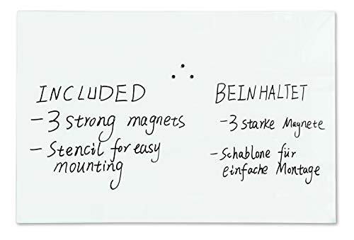 devil ray - Magnettafel Glas Whiteboard 90 x 60 cm rahmenlos Sicherheitsglas magnetisch und beschreibbar