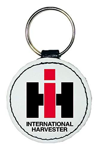 Bimaxx Leder Schlüsselanhänger | IHC Int. Harvester Logo | rund | weiß