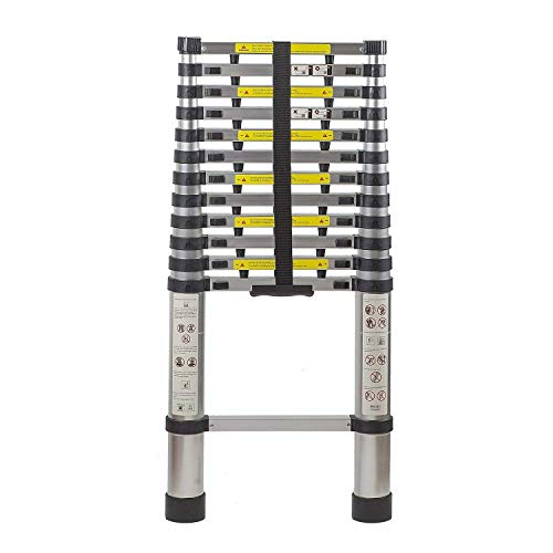 12,5 Ft Extendable ineenschuiven Aluminium Portable Ladder met Finger Protection afstandhouders, telescopische ladder met laddertje en 8bayfa