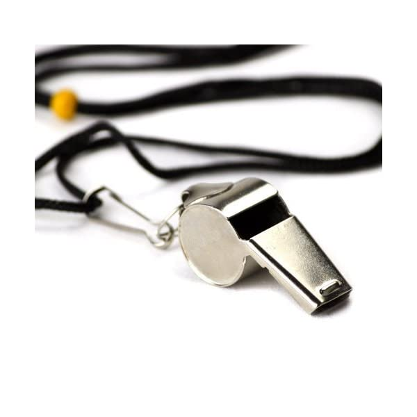 Crown Sporting Goods SCOA-001 Stainless Steel Whistle with Lanyard – Great for Coaches, Referees, and Officials by
