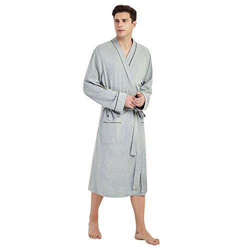 U2SKIIN Mens Cotton Robe Lightweight Knit Bathrobe(Grey, L/XL)