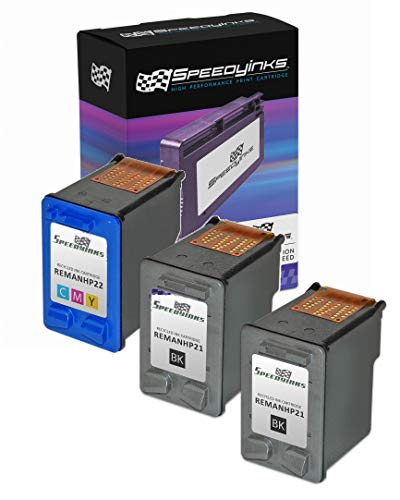 Speedy Inks Remanufactured Ink Cartridge Replacement for HP21 and HP 22 (2 Black, 1 Color, 3-Pack)