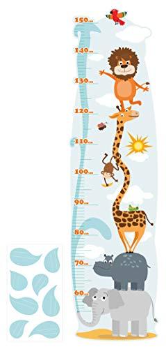 dekodino® Wandtattoo Kinderzimmer Messlatte Safari Tiere Dschungel