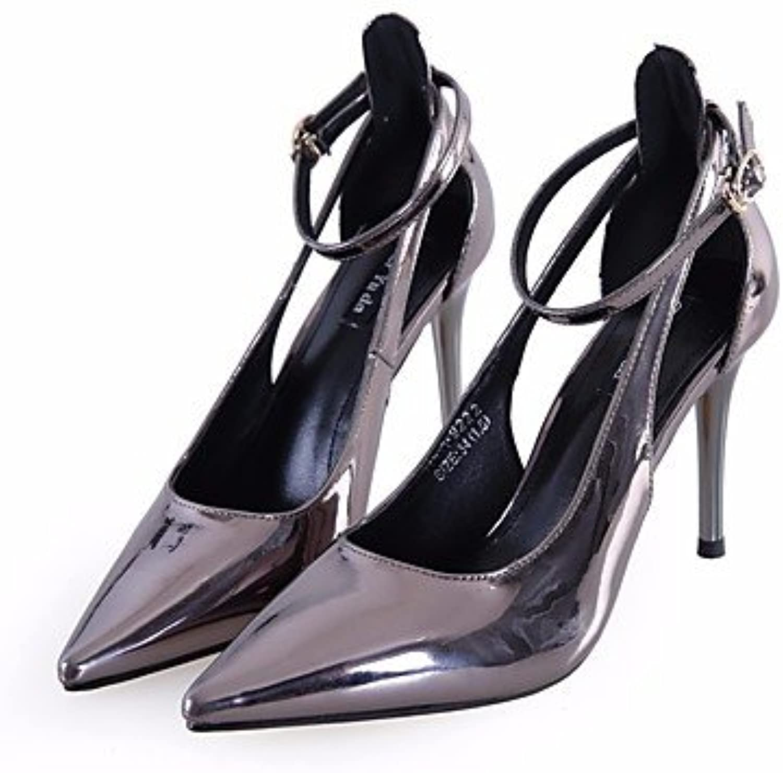 LvYuan-GGX Damen High Heels Komfort PU Frühling Lässig Schwarz Braun Braun Braun Mandelfarben Champagner 7,5-9,5 cm, schwarz, us4-4.5   eu34   uk2-2.5   cn33  224ccd