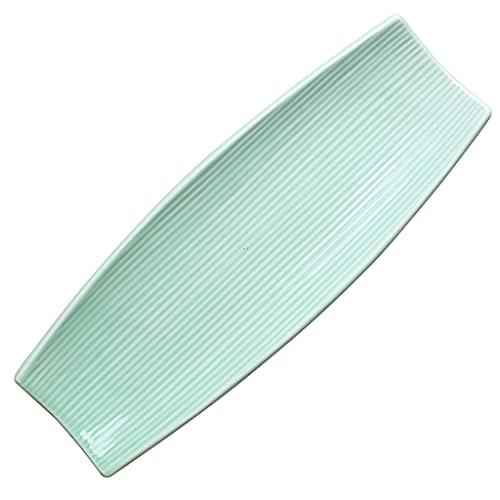 ZZRR Plato de Sushi con Forma de Barco esmaltado Verde de 12,5 Pulgadas, vajilla de cerámica, Textura cóncava-Convexa, Puede Contener Postre Barbacoa Sashimi