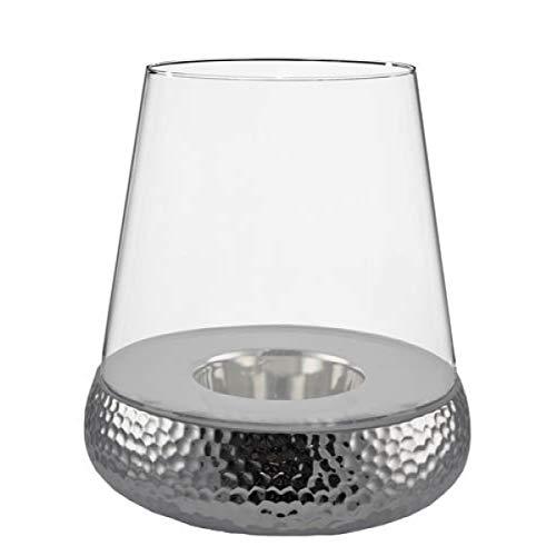 Kaheku Golf Windlicht, Tischlicht rund, Glas und Keramik, Silber, 46 cm hoch