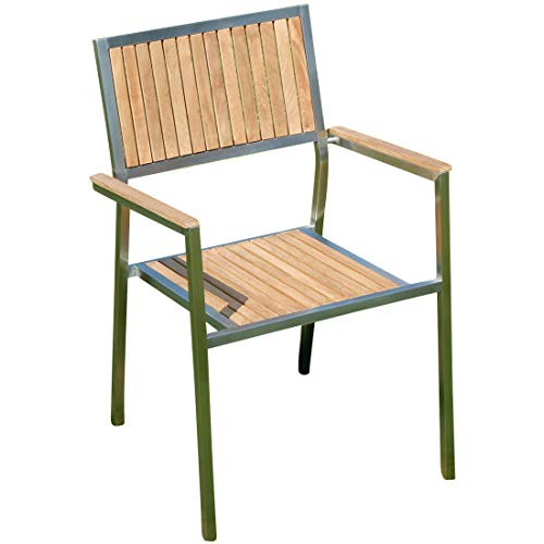 ASS Designer Gartenstuhl mit Armlehne Gartensessel Stapelstuhl Stapelsessel Sessel Kuba-Teak Edelstahl Teak A-Grade stapelbar sehr robust Gastroqualität