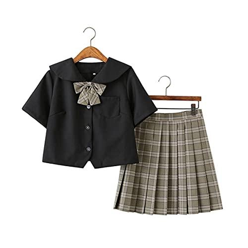Ragazze JK Uniform Suit da Donna a Vita Alta con Gonna Corta a Plaid Pieghe con Calzini al Polpaccio