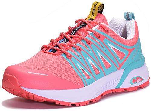 Zapatillas de Trail Running para Hombre Mujer Zapatillas Deporte Zapatos para Correr Gimnasio Sneakers Deportivas - Rosa D - 37 EU