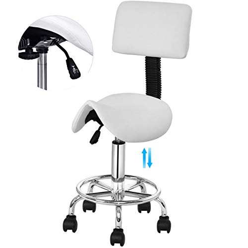 Adjustable Hydraulic Rolling 360-degree Swivel Salon Stool Chair, Safeplus Tattoo Massage Saddle Chair Facial Spa Saddle Stool with Back Rest