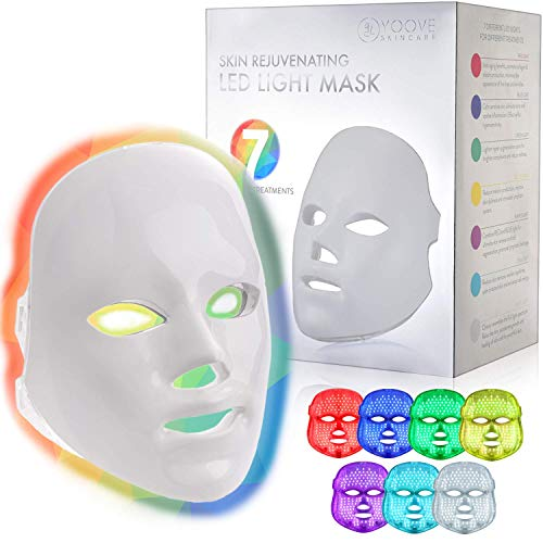 YOOVE LED Face Mask Light Therapy – 7 Colors Photon Blue Red Led Light Therapy Facial Skin Care Mask – LED Therapy Mask for Any Aging Skin Rejuvenation Boosting Collagen