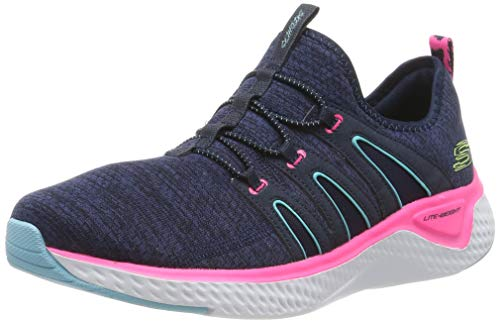 Skechers Solar Fuse-Electric Pulse, Zapatillas Deportivas Mujer, Multicolor (NVHP Black Mesh/Blue & Pink Trim), 36 EU