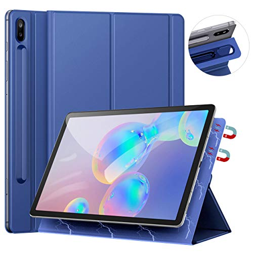 [Update Version] Ztotop Case for Samsung Galaxy Tab S6 10.5 Inch 2019, Strong Magnetic Ultra Slim Tri-Fold Smart Case Cover with Auto Sleep/Wake for SM-T860/T865 Samsung Galaxy Tab S6 10.5 -Rally Blue