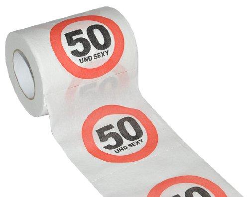 alles-meine.de GmbH Toilettenpapier 25m - 50. Geburtstag / fünfzig und Sexy - Verkehrsschild WC Klopapier Klopapier lustig Klorolle große Rolle