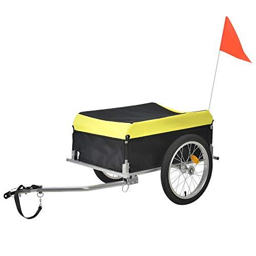 Pro-Tec Fahrradanhänger Lastenanhänger bis zu 40 kg Transportanhänger 130 x 65 x 50 cm Gepäckwagen Wetterfest Gelb/Schwarz