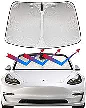 ROCCS Model 3 Model Y Front Windshield Sunshade, Sun Shade Auto Reflective Protector Sun Visor Folding Cover for Tesla Model 3 2017 2018 2019 2020