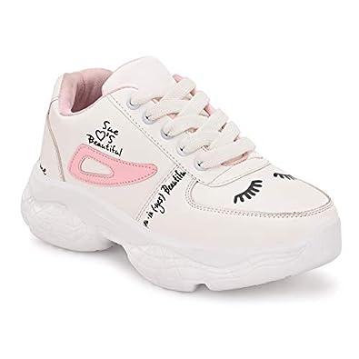 BUCADIA Women's 1006 Syenthetic White Pink Sport Shoes