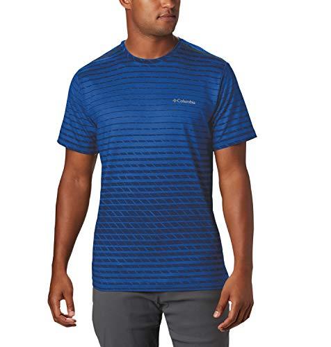 Columbia Tech Trail Print Camiseta de Manga Corta, Hombre, Azul (Azul Ombre), L