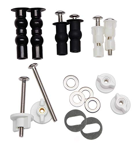 Universal Toilet Seats Screws and Bolts Metal - Toilet Seat Hinges Bolt Screws Toilet Seat Fixings Expanding Rubber Top Nuts Screws Mount Seat Hardware Toilet Seat Replacement Parts Kit(5 Choices)
