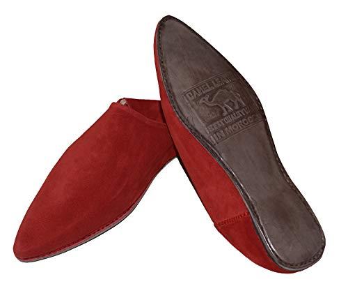 TISLIT Leder Schuhe Babouch Leder Hausschuhe marokkanische Handmade Original Fairtrade (44 EU, Rot)