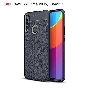 Huawei P Smart Z Case Silicone Leather[Slim Thin] Flexible TPU Protective Case Shock Absorption Carbon Fiber Cover for Huawei P Smart Z Case Navy