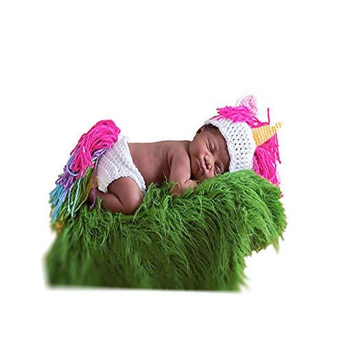 Disfraz de fotografía para bebé Accesorios de fotografía recién Nacidos Unicorn Costume Crochet Knit Photography Props Outfits Baby Photo Props (Color : Rojo)