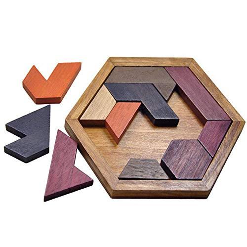 Rompecabezas de Tangram hexagonal Rompecabezas de madera, Rompecabezas de geometría y lógica Juego educativo de ajedrez con forma hexagonal, Rompecabezas Juegos de rompecabezas para todas las edades